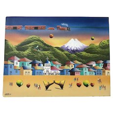 Jorge Cosme Quishpe Cuzco School of Art original oil painting on canvas vibrant surrealistic train scene