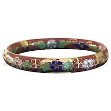 Vintage Chinese  cloisonne and champlevé hinged bracelet
