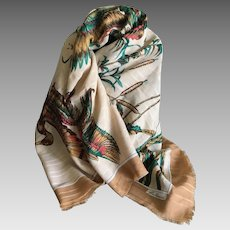 Vintage wild ducks very large scarf