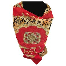 Vintage red and gold animal and scroll print scarf