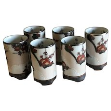 Japanese Kutani Ware Sake Cups Set of 6