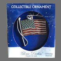 Pewter Gloria Duchin USA Flag Ornament