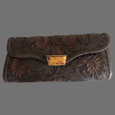 Vintage Long Tooled Leather Clutch