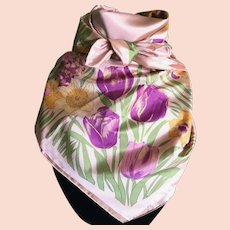 Vintage Peach Color Thai Silk Scarf with Daffodils and Tulips