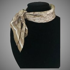 Vintage Classic Taupe Silk Coach Logo Scarf