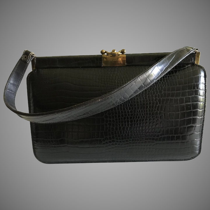 c13d6e2afae1 Iconic Mid Century Dark Brown Alligator Handbag Purse   Basingers Vintage  Collectibles and Fashions