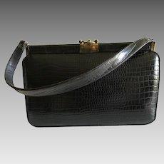 Iconic Mid Century Dark Brown Alligator Handbag Purse