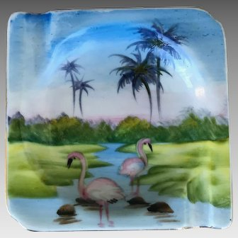 Mid Century Modern Handpainted Flamingo Ash Tray