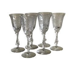 Rose Point Cambridge Glass Sherry Stems Set of 6 Downton Abby Perfect