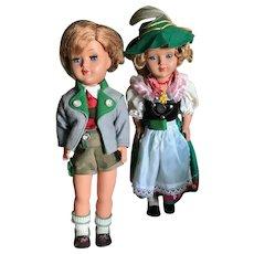 Pair of Gura dolls in German Alpine Clothing