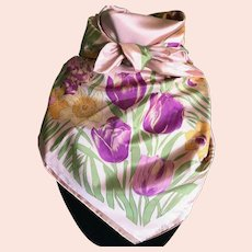 Vintage Peachy Pink Thai Silk Scarf with Daffodils and Tulips
