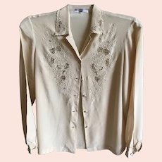 Vintage made in Hong Kong Beige pure silk hand embroidered long sleeve blouse