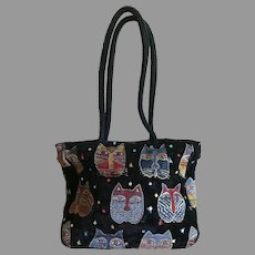 Vintage Laurel Burch Upholstery Cat Tote Bag