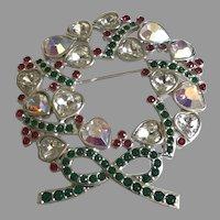 Vintage Swarovski Crystal Christmas Heart Wreath Pin/ Brooch