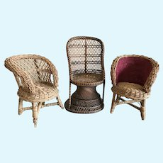 Three Wicker Doll Chairs