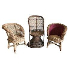 Three Wicker Doll Chairs