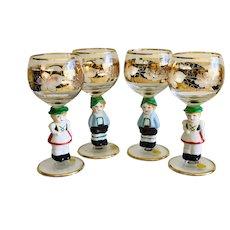 1950's Goebel Crystal and Porcelain Character Goblets Glasses