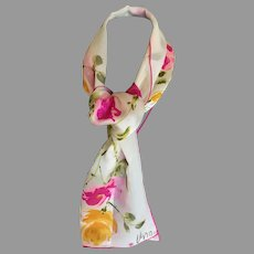 Vintage Vera  Pink and Yellow Roses Ladybug Logo Rectangular Scarf