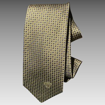 Retro Versace silk necktie in Gold and Violet