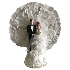 Vintage Hand Painted Wedding Cake Topper