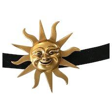 Smiling Gold Plate Sunburst Sol de Mayo Brooch / Pin