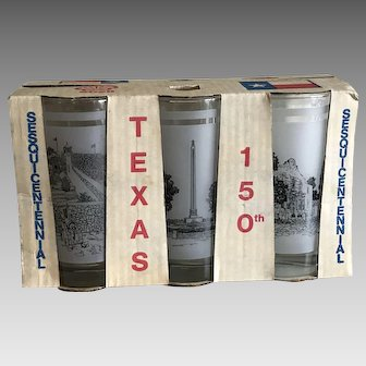 Norman Baxter Texas Sesquicentennial Commemorative Drinking Glasses Original Box