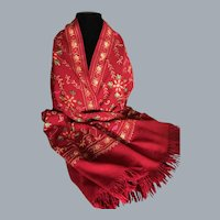 Vintage Fine Wool Crewel Embroidered Wrap or Shawl