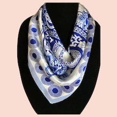 Blue and White Asian Motif Silk Scarf