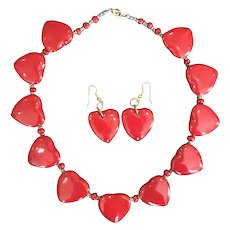 Vintage Red Pottery Hearts Necklace and Pierced Earring Set