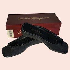 Salvatore Ferragamo Open Toe Nero Black Fabric Slide Sandal Size 9 1/2 AAA