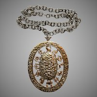 1970s Disco House of Schrager Runway Zodiac Medallion Necklace