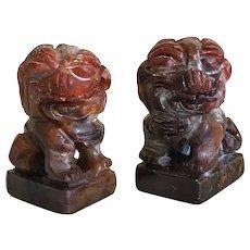 Vintage Miniature Hand Carved Jadite Fu Dogs