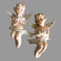 Vintage Bisque Porcelain Angels Wall Hangers