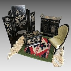 Vintage Oriental Themed Doll House Furniture and Rug