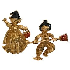 Vintage Boy and Girl Scarecrow and Witch Pins by Avon