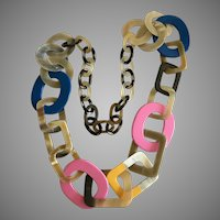 Spectacular Avant Garde Long Carved Horn and Lacquer Necklace.
