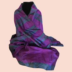 Vintage Thai Silk Wrap Shawl or Scarf
