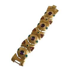 Vintage Napier Byzantine Link Bracelet in Mardi Gras Colors
