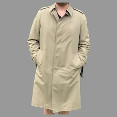Vintage Mens London Fog Rain Coat with Zip Out Lining Made in USA
