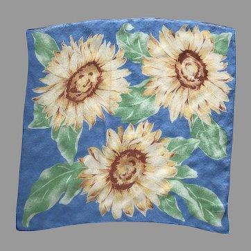 Vintage Sunflower Silk Crepe Scarf