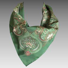 Dark Green and Pink Easy Care Polyester Scarf