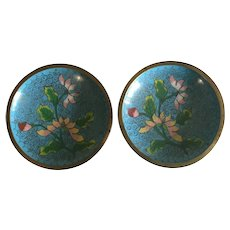Two Vintage Chinese Blue Cloisonne Ash Trays