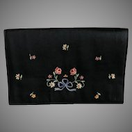 Vintage French Black Silk Tambour Embroidered Envelope Purse / Handbag