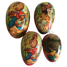 4 Vintage German Paper Mache Easter Candy Containers