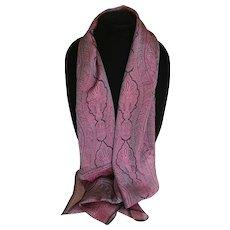 Vintage Gossamer Iridescent Violet and Chocolate Silk Scarf