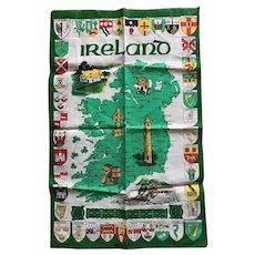 Ireland Map Bright Green Linen Tea Towel Vintage