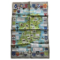 Map of Ireland Linen Tea Towel with Quotes, Comments, Clan Coats of Arms Vintage