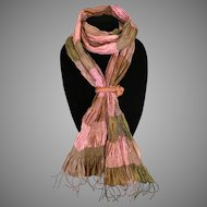 Rosy Pink and Bronze Thai Silk Scarf