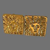 Vintage Anne Klein lion head Pierced earrings