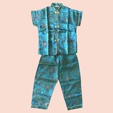 Vintage Chinese Turquoise Silk Pajamas Children Size